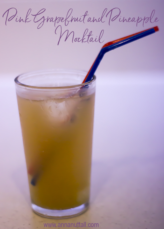 pink grapefruit and pineapple mocktail